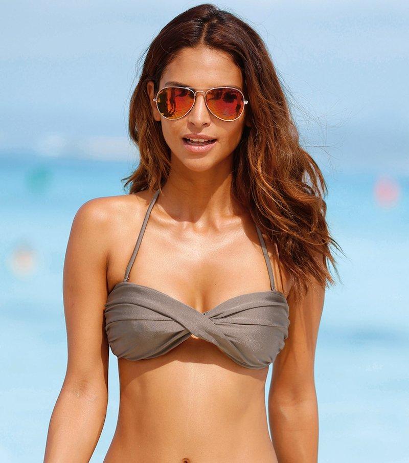 Sujetador de bikini bandeau mujer cruzado