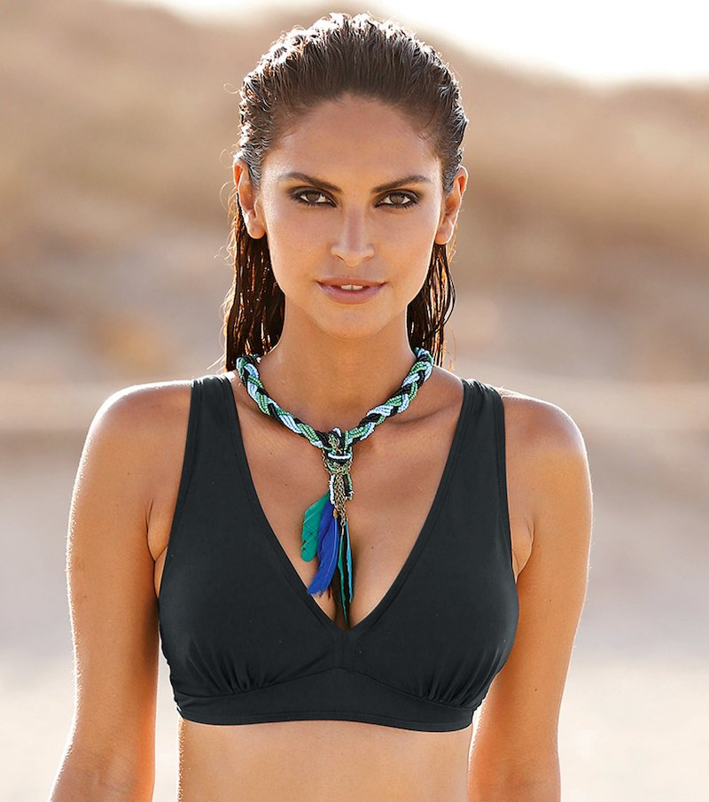 Sujetador de bikini mujer triángulo con relleno - Negro