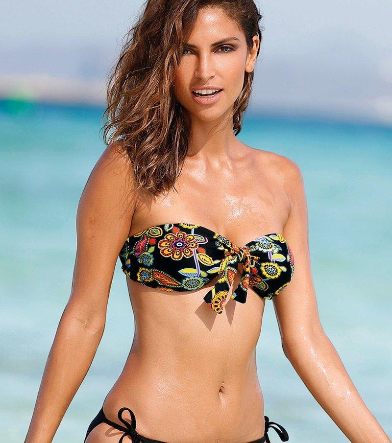 Sujetador bikini bandeau mujer estampado y lazo