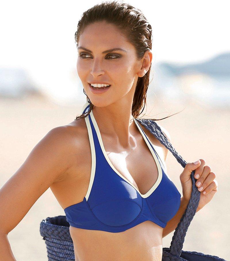 Sujetador de bikini halter mujer con aros
