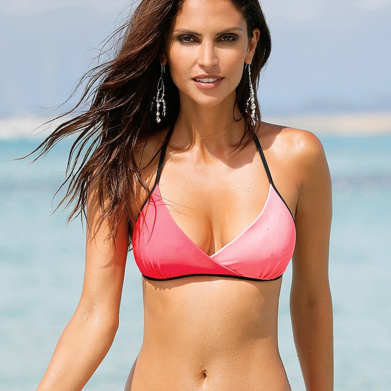 Sujetador bikini triángulo bicolor copa B