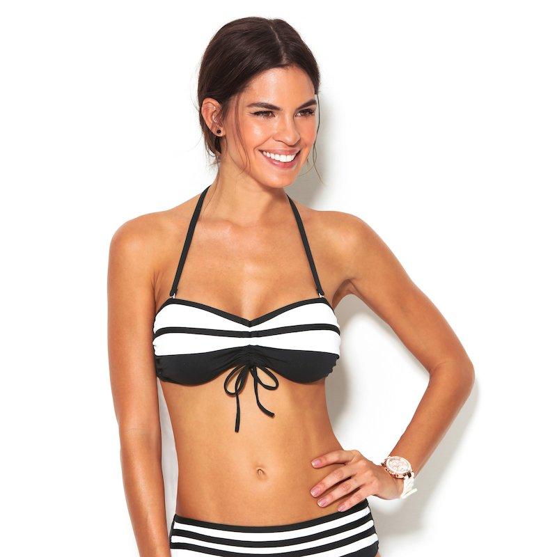Sujetador de bikini mujer copa B bandeau rayas