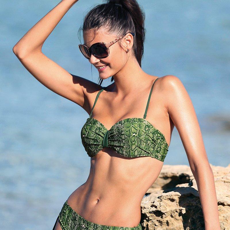 Sujetador bikini bandeau copa B con aros y relleno