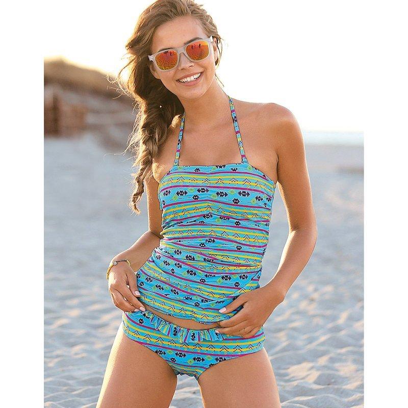 Shorty de bikini étnico con volante para mujer - Lila