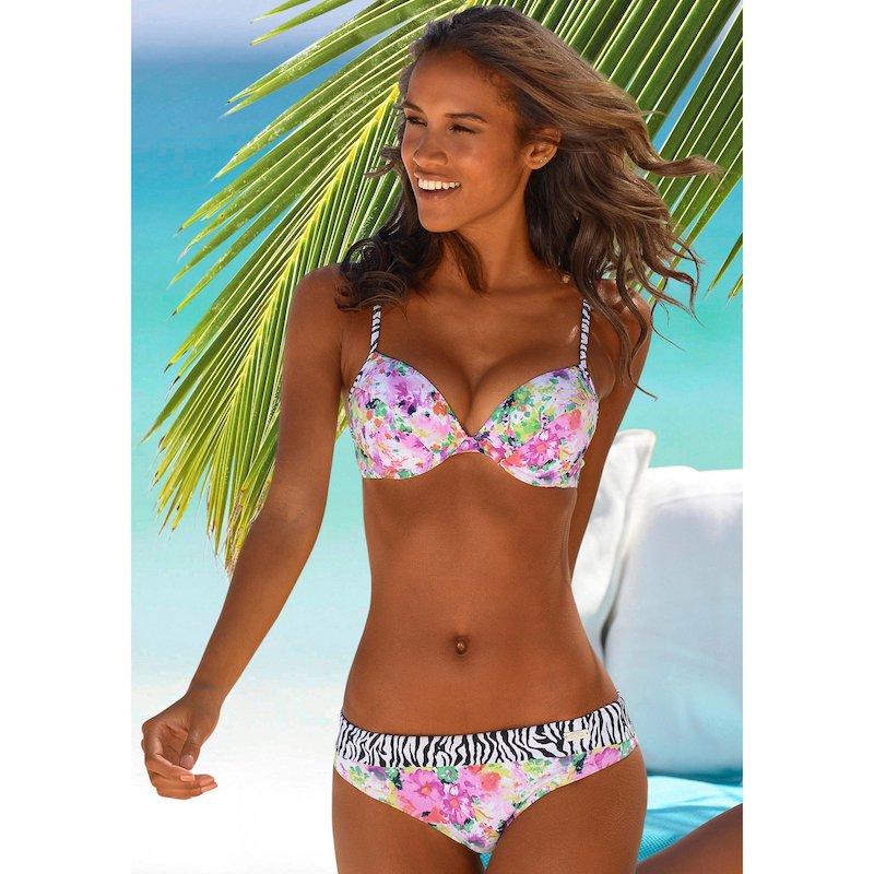 Braga de bikini forrada motivos flores y cebra