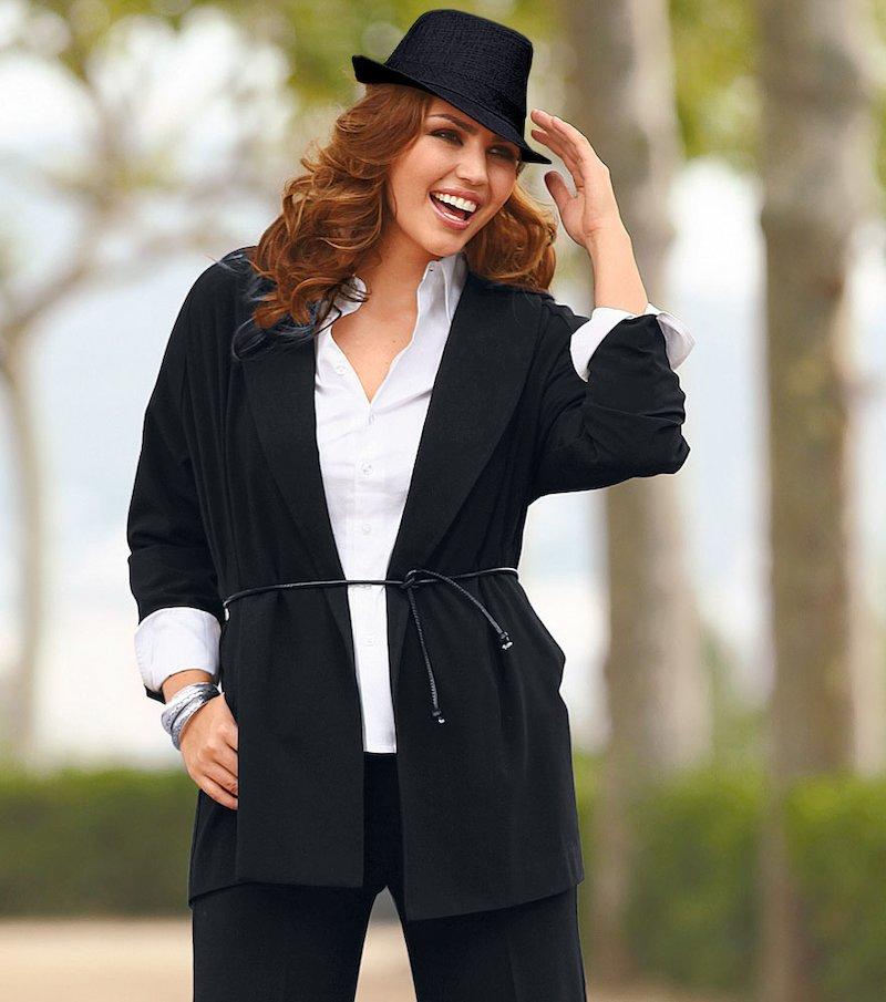 Chaqueta levita larga mujer con cinturón - Negro
