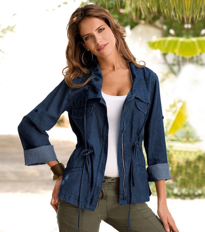 Cazadora parka mujer 100% algodón con cordones - Azul