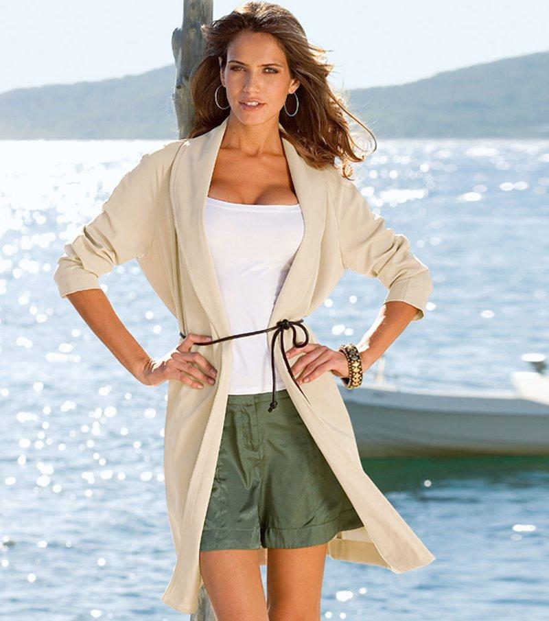 Chaqueta americana larga mujer con cinturón - Beige