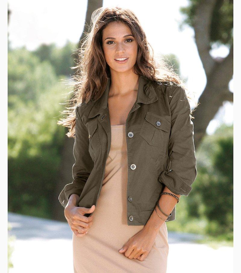 Chaqueta cazadora mujer manga 3/4 100% algodón