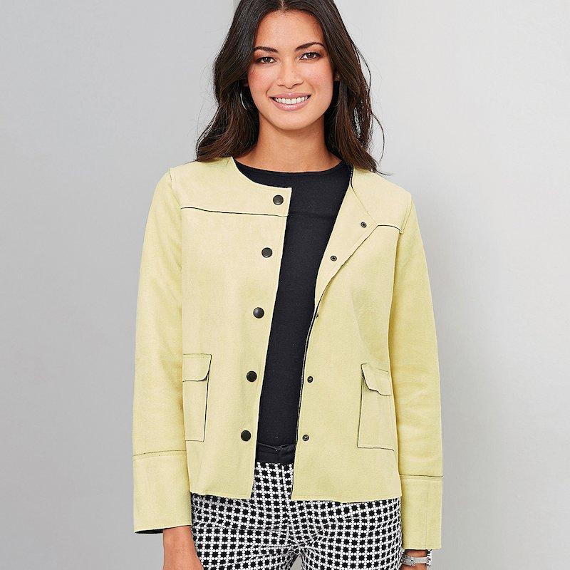Cazadora de antelina mujer con bolsillos - Amarillo