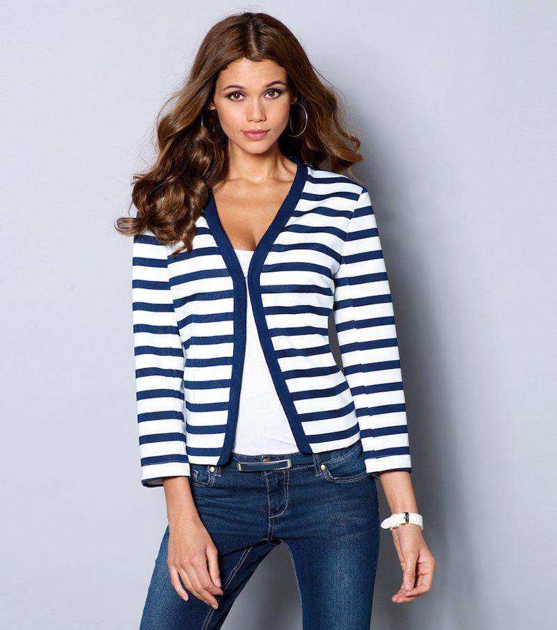 Chaqueta mujer manga 3/4 rayas marineras - Azul