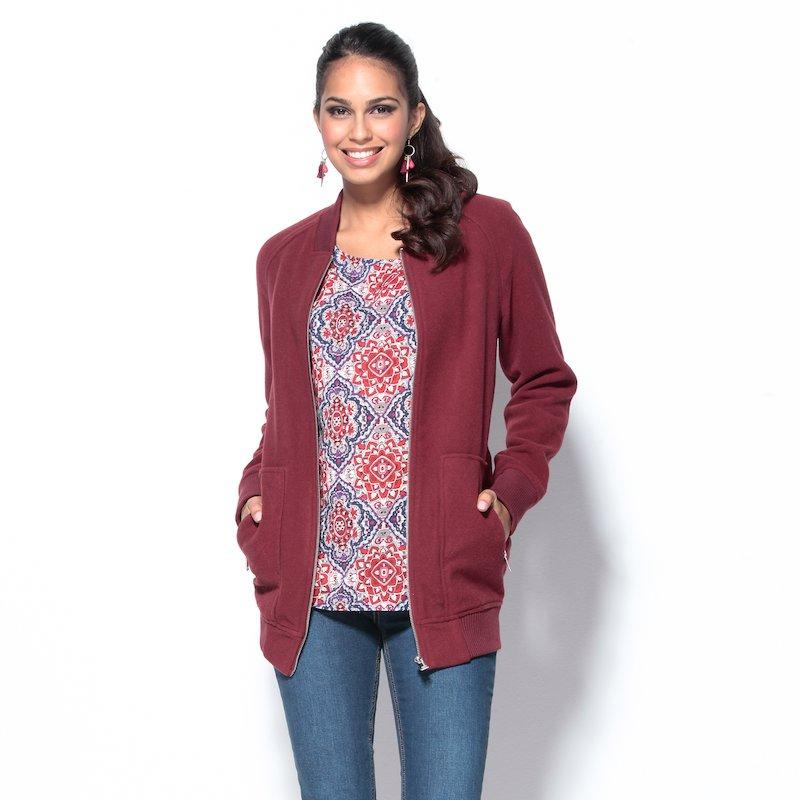 Chaqueta mujer con cremallera tacto lana burdeos