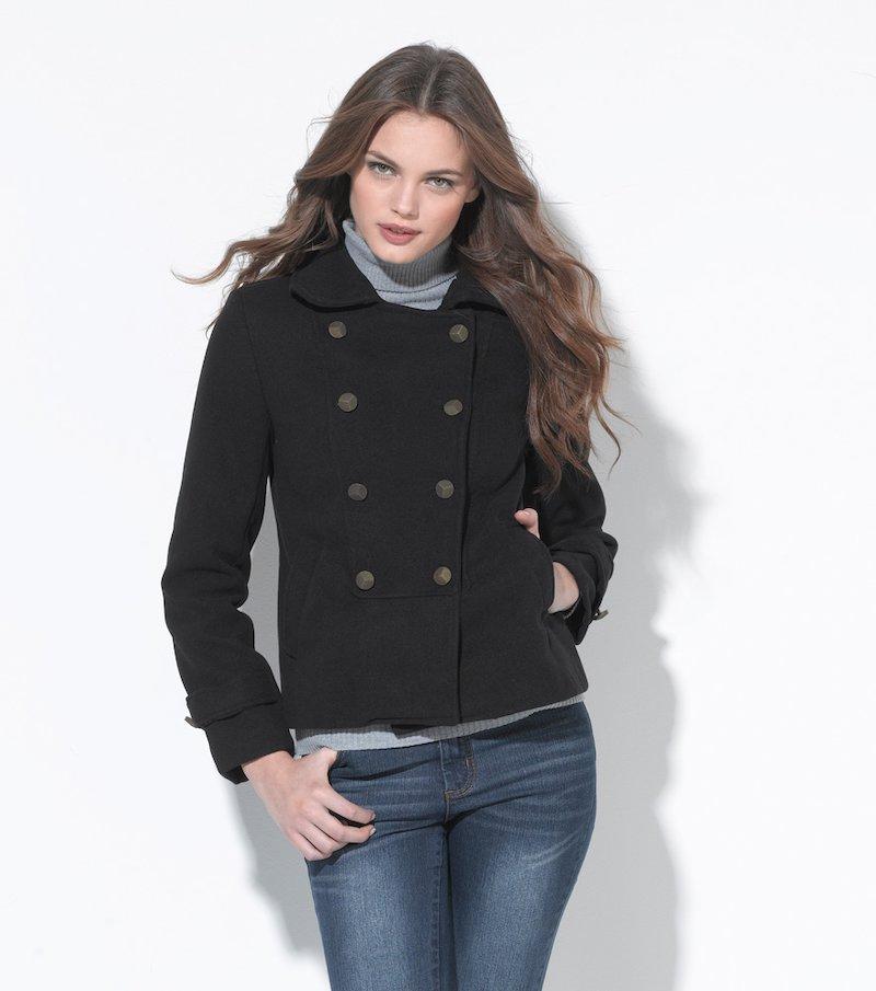 Abrigo corto mujer manga larga militar negro