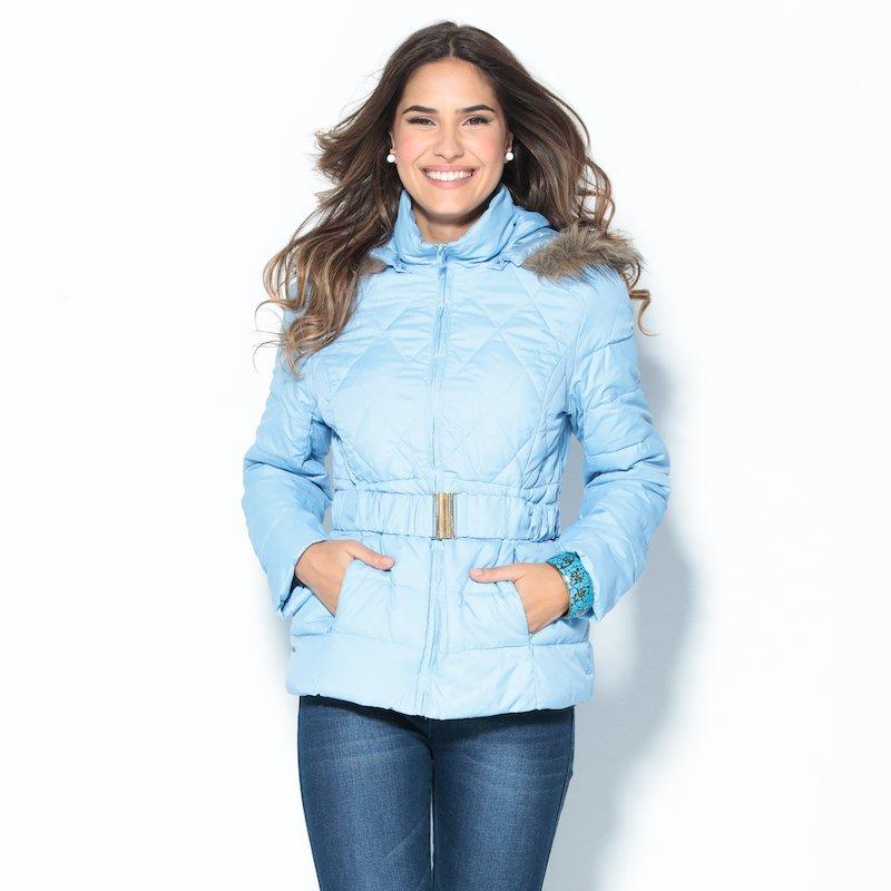 Anorak mujer con capucha pelo acolchado azul