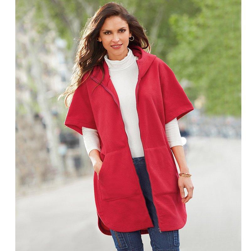 Abrigo capa polar mujer con capucha y cremallera
