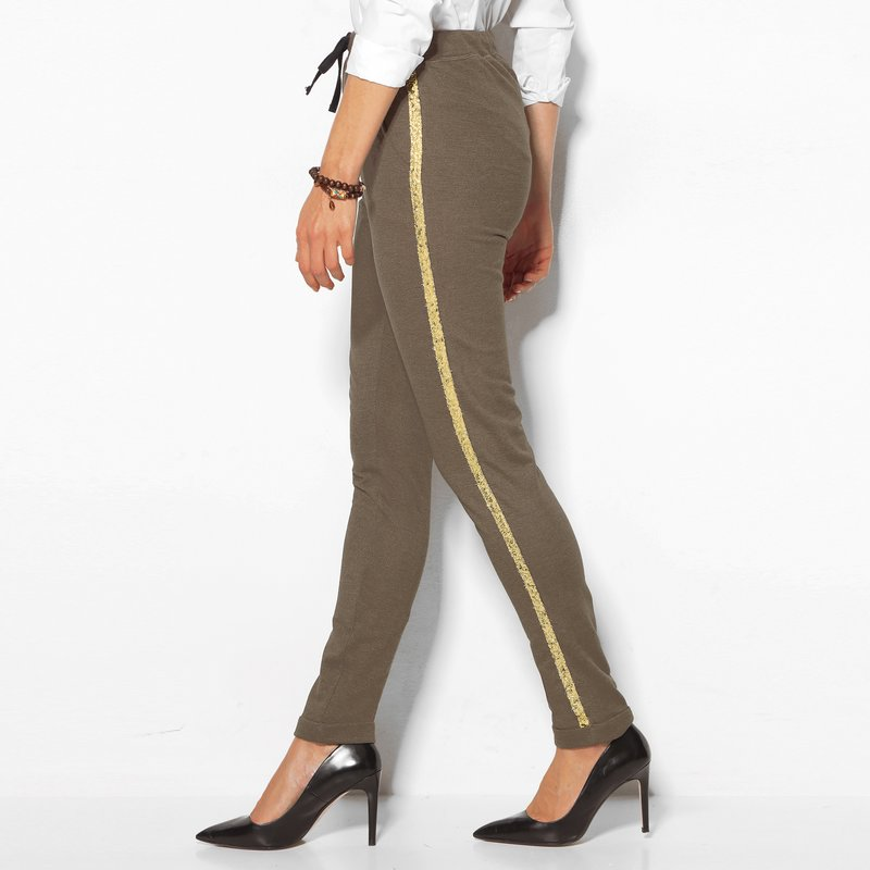 Pantalón largo mujer de felpa con lentejuelas