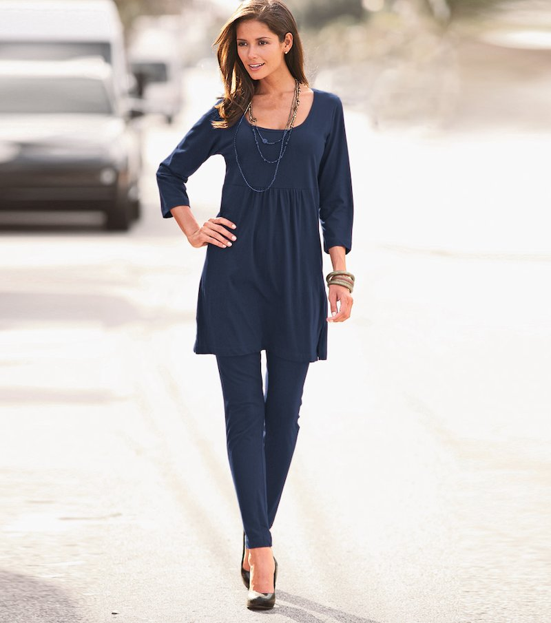 Conjunto mujer de túnica larga y pantalón pitillo - Azul