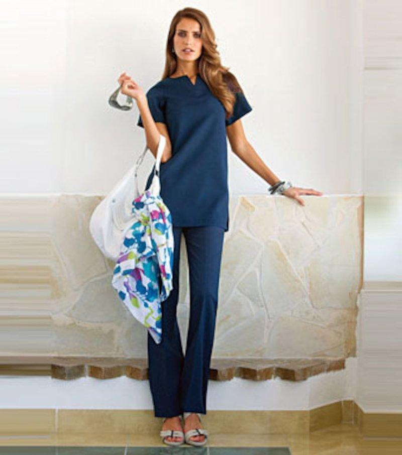Conjunto mujer túnica manga corta y pantalón largo - Azul