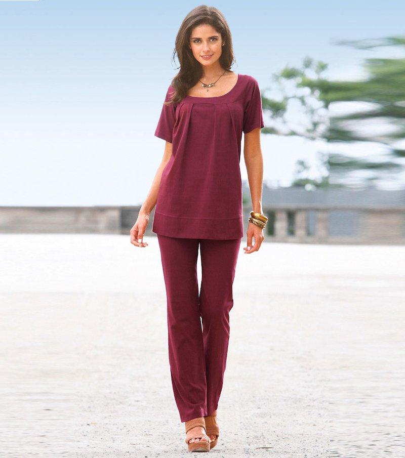 Conjunto punto mujer 2 piezas camiseta y pantalón