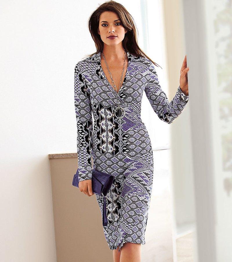 Vestido mujer manga larga de punto elástico
