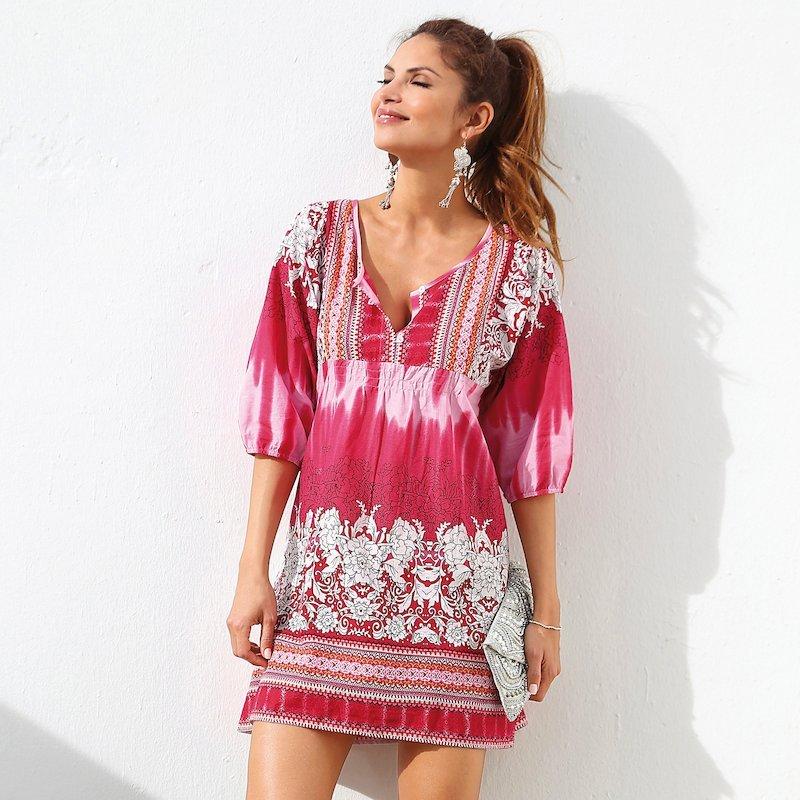 Vestido  túnica mujer estampada de algodón voile