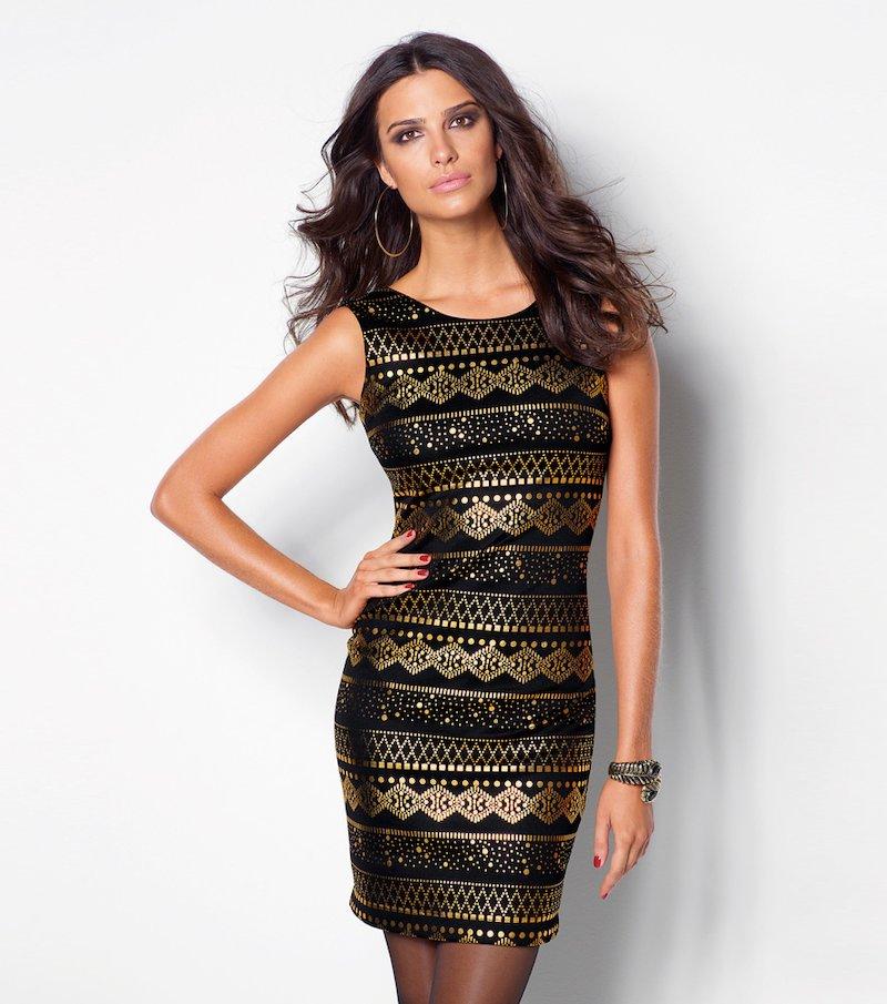 Vestido fiesta mujer sin mangas metalizado - Negro