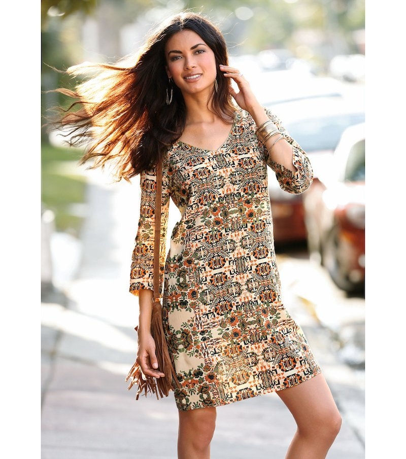 Vestido túnica mujer manga 3/4 estampado viscosa