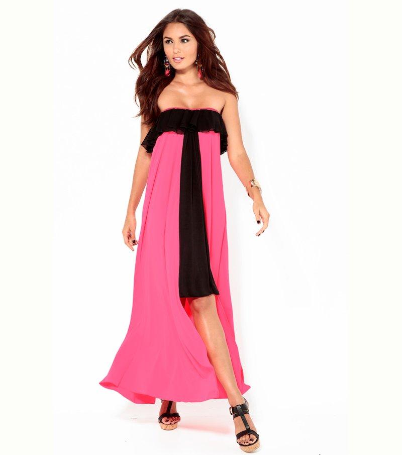 Vestido largo mujer fiesta bicolor