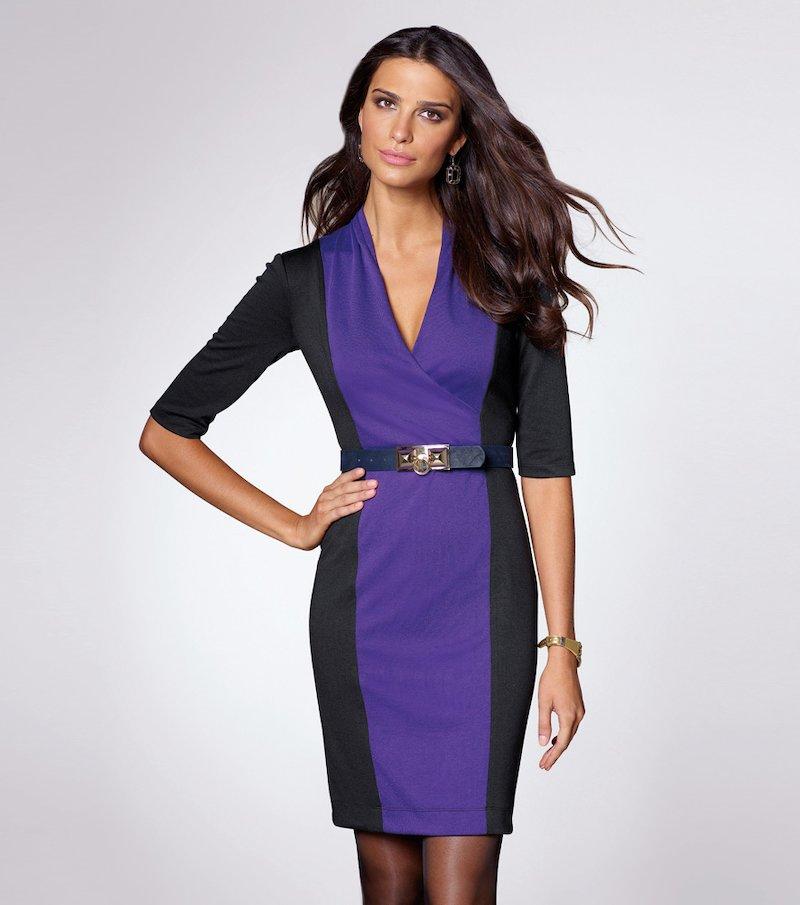Vestido mujer manga 3/4 punto milano - Negro
