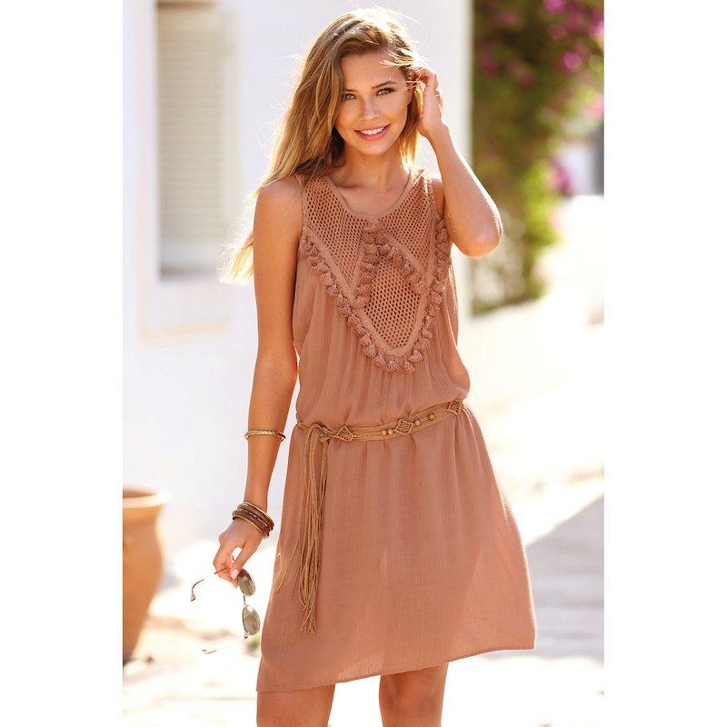 Vestido mujer sin mangas escote pasamanería y guipur