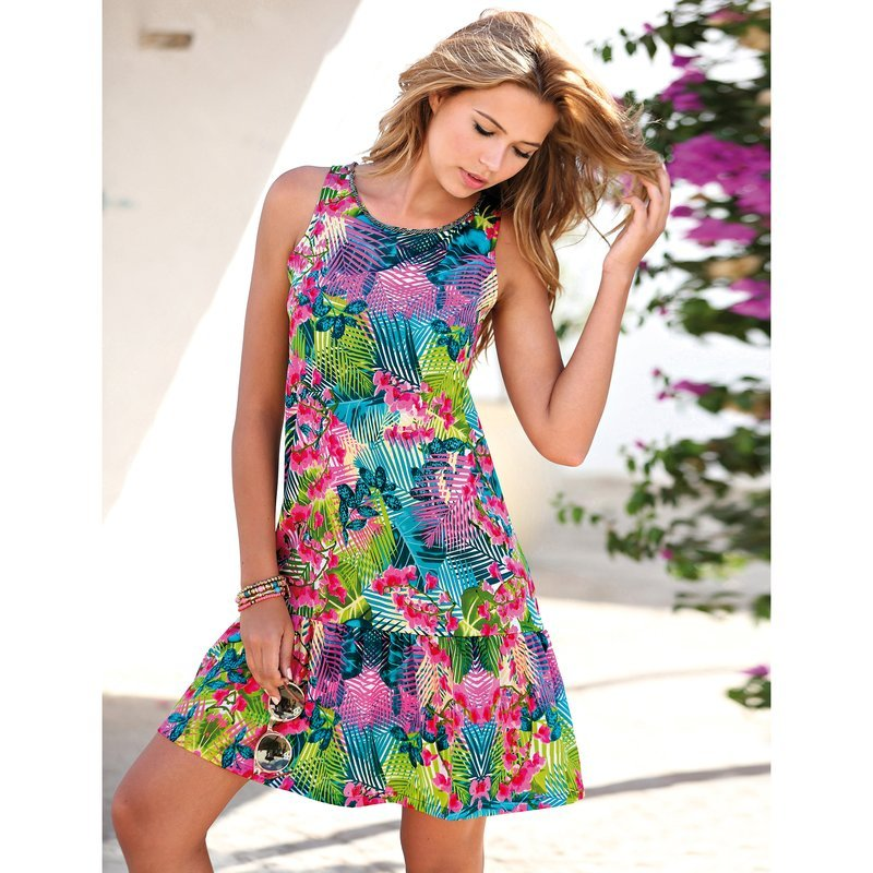 Vestido sin mangas mujer tropical con volante
