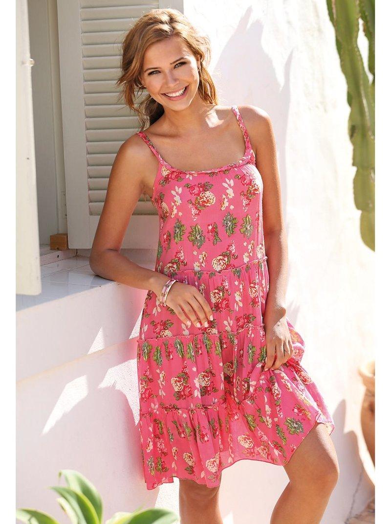 Vestido tirantes con paneles fruncidos estampado
