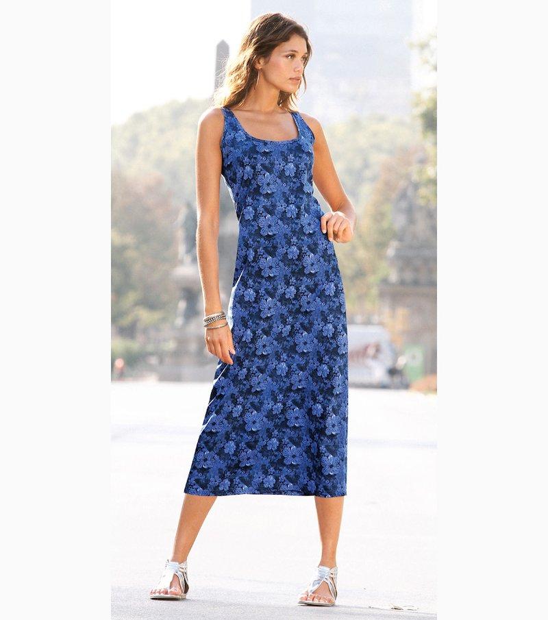 Vestido largo mujer sin mangas punto 100% algodón - Azul