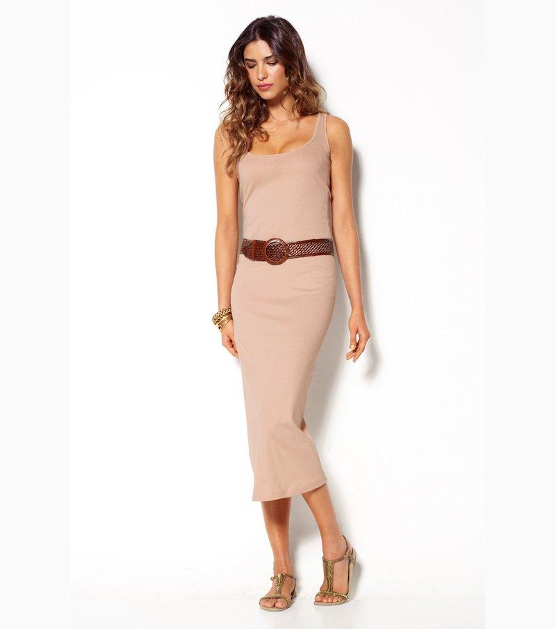 Vestido largo mujer sin mangas punto 100% algodón