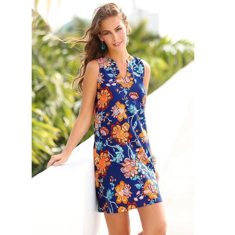 Vestido corto sin mangas evasé flores oriental