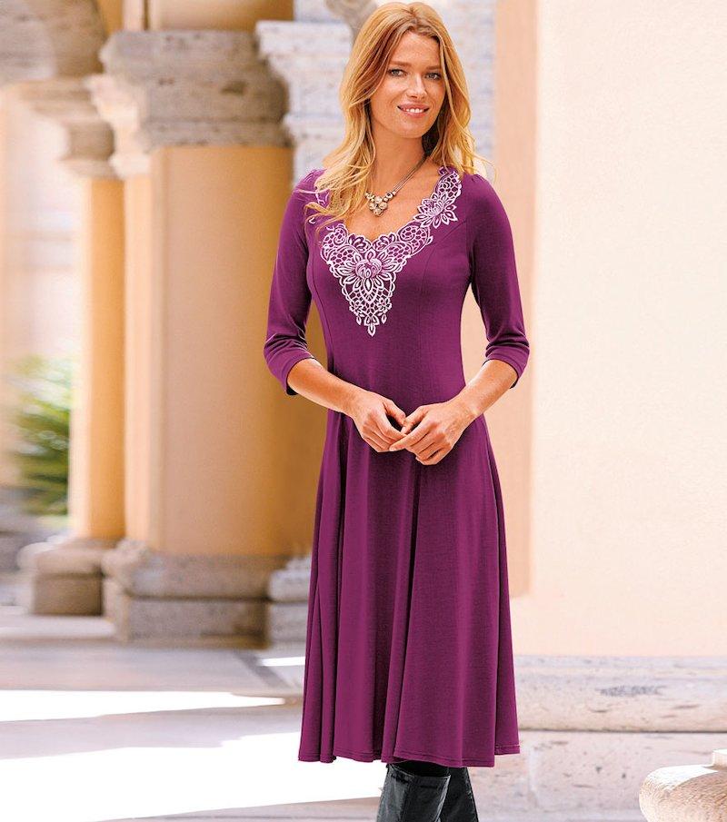 Vestido mujer de punto bordado