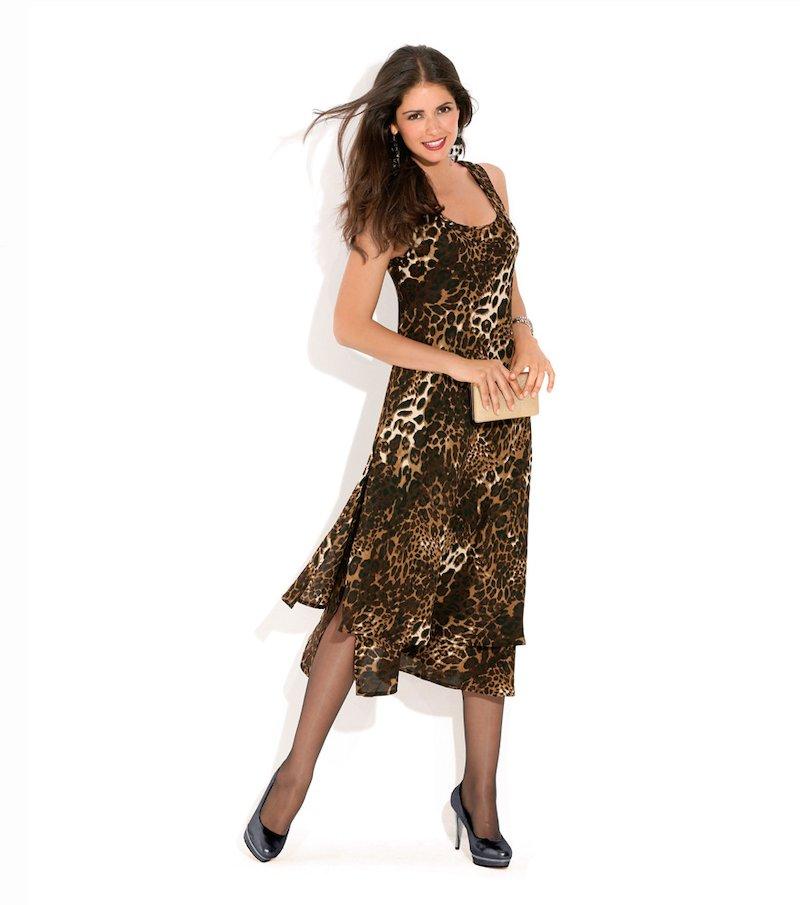 Vestido mujer sin mangas doble tejido al biés