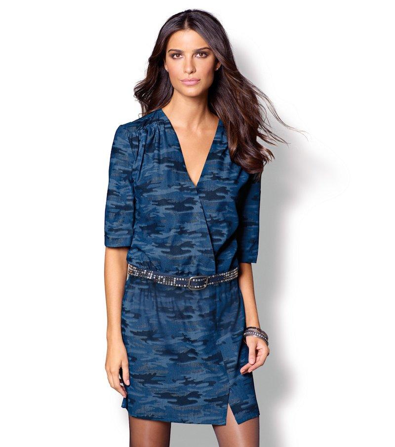Vestido mujer manga 3/4 camuflaje