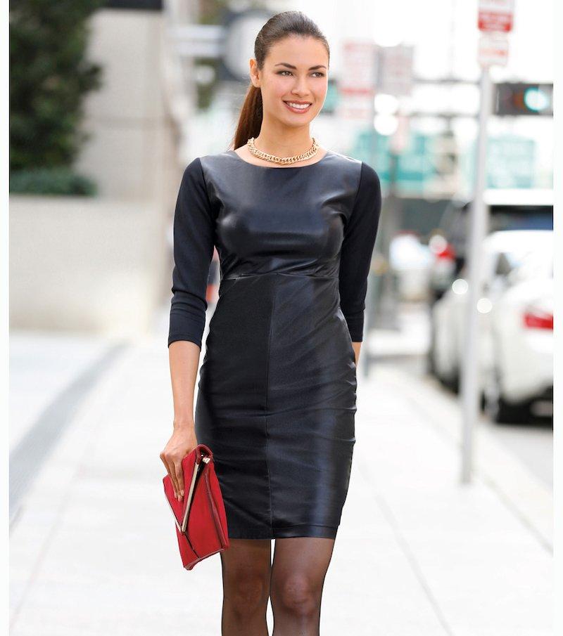 Vestido mujer manga 3/4 símil piel y punto