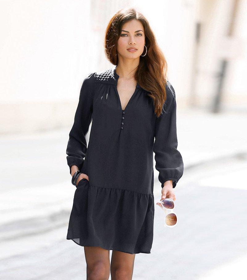 Vestido mujer canesú acolchado manga larga con volante - Negro
