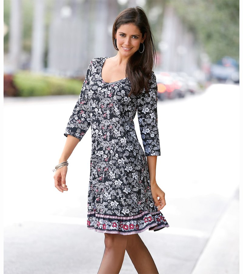 Vestido mujer manga 3/4 estampado de punto