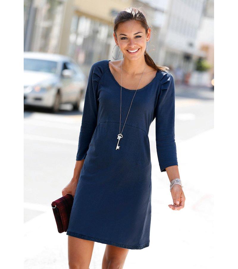 Vestido mujer manga 3/4 de punto con encaje - Azul