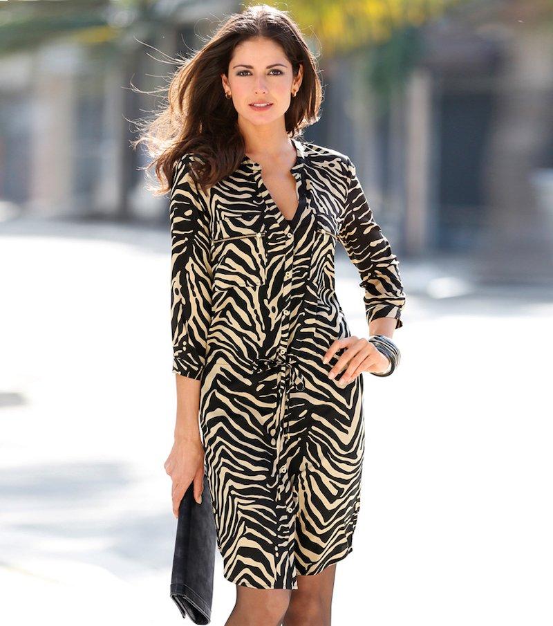 Vestido camisero mujer manga 3/4 animal print