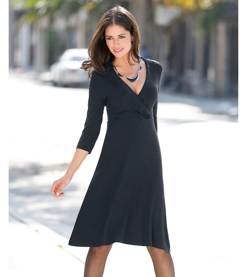 Vestido mujer manga 3/4 con pliegues