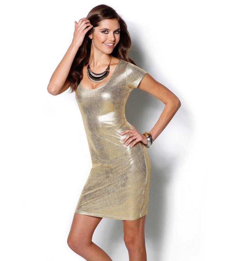 Vestido fiesta mujer dorado metalizado