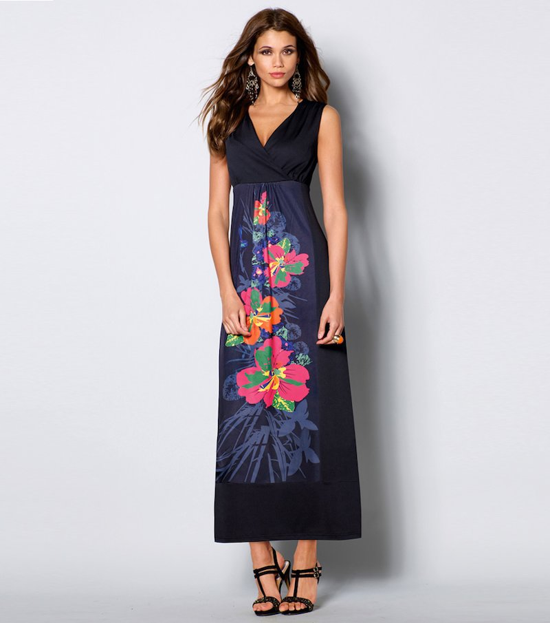 Vestido largo mujer sin mangas punto
