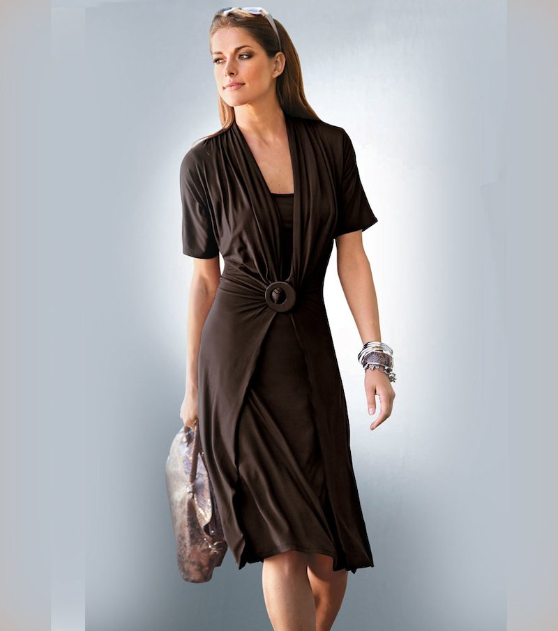 Vestido mujer de efecto doble punto liso