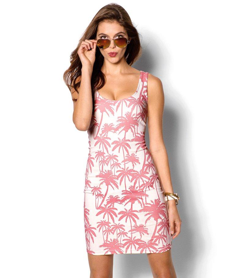Vestido mujer sin mangas estampado palmeras