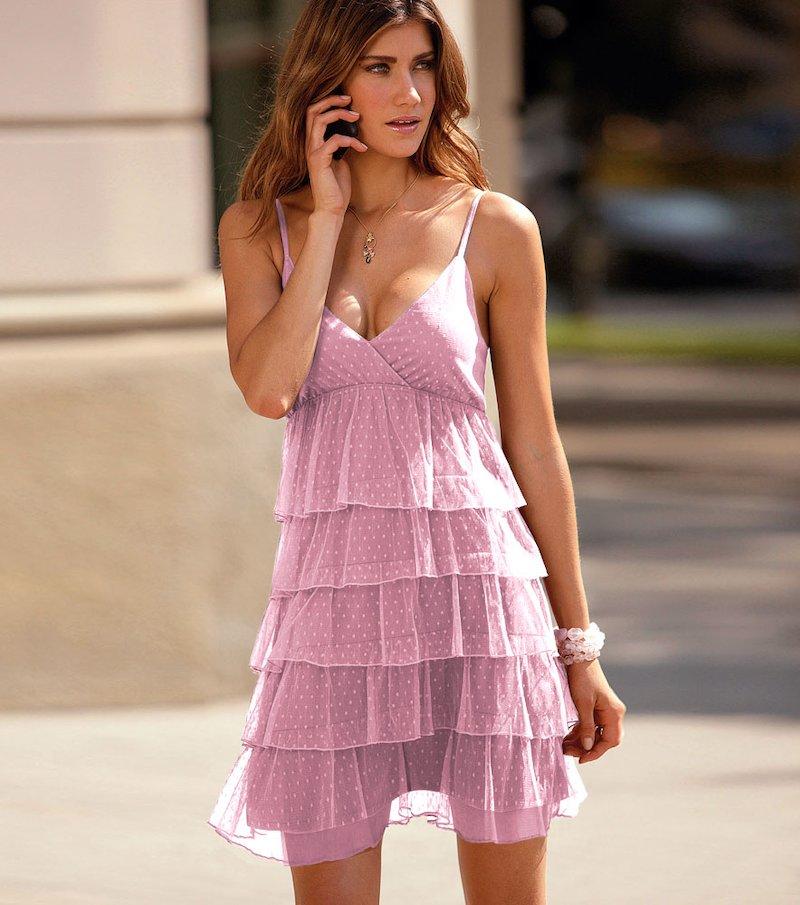 Vestido mujer de tirantes con volantes en tul