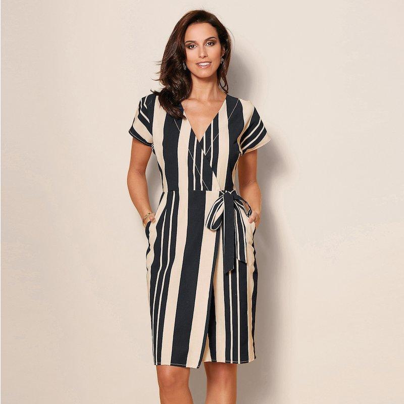 Vestido mujer rayas verticales con bandas para anudar